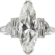 Art Deco GIA 4.07ct Old Euro Marquise Diamond Engagement Platinum Ring