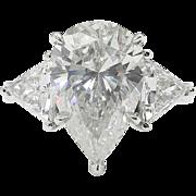 Vintage GIA 4.80ct Pear Diamond 3 Stone Engagement Platinum Ring