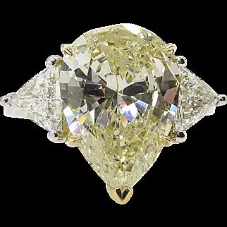 Vintage 5.52ct Fancy Yellow Pear Diamond 3 Stone Engagement Platinum Ring EGL USA