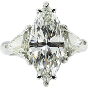 Vintage GIA 4.06ct Marquise Diamond 3 Stone Engagement Platinum Ring