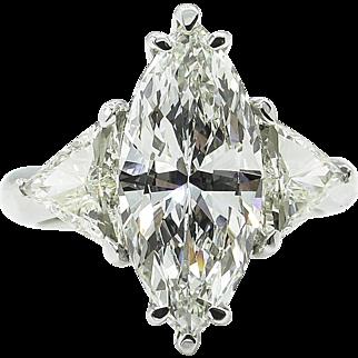 Vintage GIA 4.06ct Marquise Diamond 3 Stone Engagement Platinum Ring