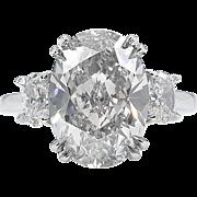 Vintage 4.55ct Oval Diamond 3 Stone Engagement Platinum Ring EGL