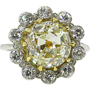Vintage 3.82ct Old Mine Diamond Cluster Engagement 18k Yellow Gold Platinum Ring