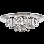 Vintage GIA 1.41ct Old Mine Cushion Diamond Engagement Platinum Ring