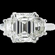 GIA 4.00ct Estate Vintage Emerald cut Diamond 3 Stone Engagement Wedding Platinum Ring