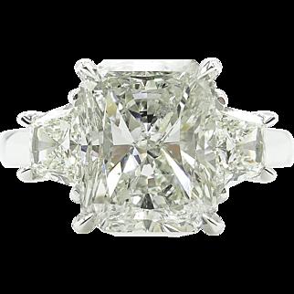 Vintage 5.04ct Radiant Diamond 3 Stone Engagement Platinum Ring EGL USA