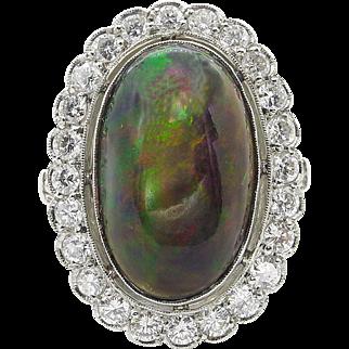 Vintage 7.21ct Australian Black Opal Cluster Engagement Platinum Ring