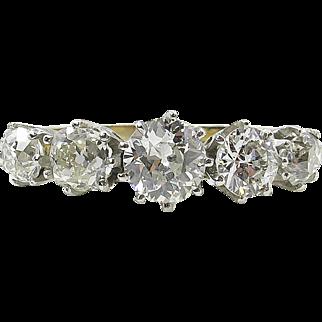 1.25ct Antique Old Euro Diamond 5 Stone Engagement Ring Platinum 18k Yellow Gold EGL USA
