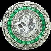 Vintage 2.51ct Old European Diamond Engagement Platinum Ring EGL USA