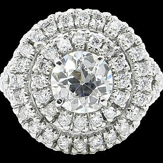 Vintage 1.79ct Old European Diamond Engagement Platinum Ring EGL USA