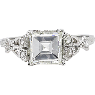 "Art Deco 1.66ct ""Carrè"" Asscher Diamond Engagement Platinum Ring EGL USA"