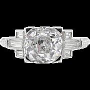 Art Deco GIA 2.23ct Old Mine Diamond Engagement Platinum Ring