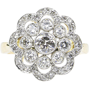 Vintage 1.35ct Round Diamond Cluster Engagement Platinum/18k Yellow Gold Ring