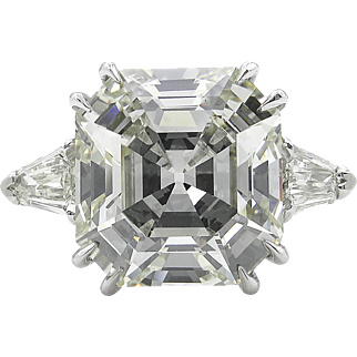 Vintage 6.17ct Asscher Diamond 3 Stone Engagement Platinum Ring EGL USA