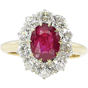 Victorian AGL 2.31ct Dark Red Burma Ruby Diamond Engagement Cluster 18k Yellow Gold Ring