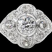 Antique GIA 2.25ct Old European Diamond Engagement Platinum Ring
