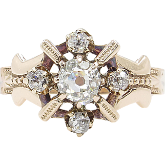 Victorian 0.69ct Old Mine Diamond Cluster Engagement 10k Rose Gold Ring