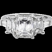 Vintage GIA 2.44ct Emerald cut Diamond Engagement Platinum Ring