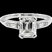 Art Deco GIA 1.15ct Emerald Diamond Engagement Platinum Ring