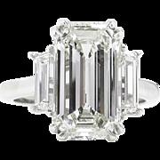 Vintage GIA 4.18ct Emerald cut Diamond 3 Stone Engagement Platinum Ring