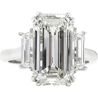 Vintage GIA 4.18ct Emerald cut Diamond 3 Stone Engagement Platinum Ring