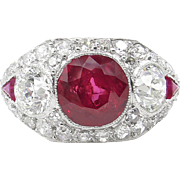Vintage AGL 5.25 No HEAT Red BURMA Ruby Diamond Engagement Platinum Ring