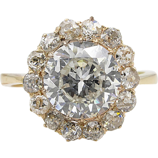 Victorian GIA 4.79ct Old European Diamond Cluster Engagement 18k Yellow Gold Ring