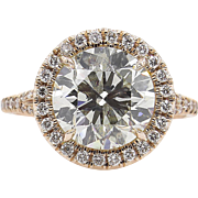 Vintage 4.01ct Round Diamond Halo Engagement 14k Rose Gold Ring