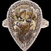 Vintage 6.24ct Fancy Cognac Pear Diamond Engagement 14k Rose Gold Ring EGL USA