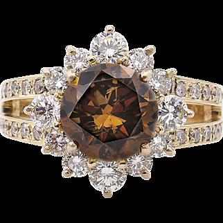 Vintage GIA 4.03ct Fancy Cognac Round Diamond Cluster Engagement 18k Rose Gold Ring