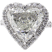 Vintage GIA 5.20ct Heart Diamond Halo Engagement Platinum Ring