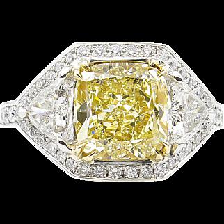 Vintage GIA 5.10ct Fancy Yellow Cushion Diamond 3 Stone Engagement Ring in Platinum/18k YG