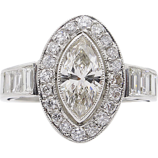 Art Deco 2.62ct Marquise Diamond Engagement Platinum Ring EGL USA