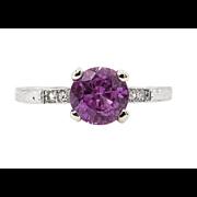 Art Deco 1.36ct Pink Sapphire Diamond Engagement Platinum Ring EGL USA