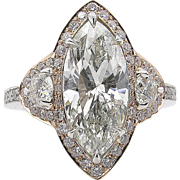 Vintage 4.27ct Marquise Diamond 3 Stone Engagement 14k Gold Ring EGL USA