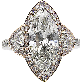 Vintage 4.27ct Marquise Diamond 3 Stone Engagement 14k Gold Ring EGL USA