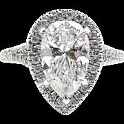 Vintage GIA 3.01ct Pear Diamond Halo Engagement Platinum Ring