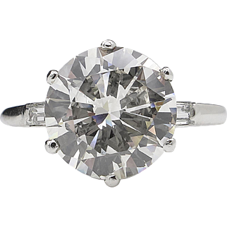 Vintage 5.05ct Round Diamond Engagement Platinum Ring EGL USA