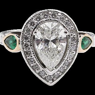 Vintage 2.61ct Pear Diamond Green Emerald Engagement Platinum/14kGold Ring