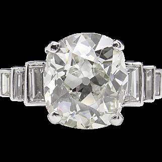 Vintage 5.19ct Old Mine Cushion Diamond Engagement Platinum Ring EGL USA