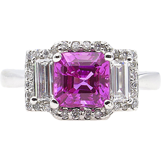 Vintage AGL 3.03ct No Heat Pink Sapphire Diamond 3 Stone Engagement 18k White Gold Ring