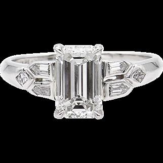 GIA 1.22ct Antique Vintage Art Deco Emerald Diamond Engagement Wedding Platinum Ring