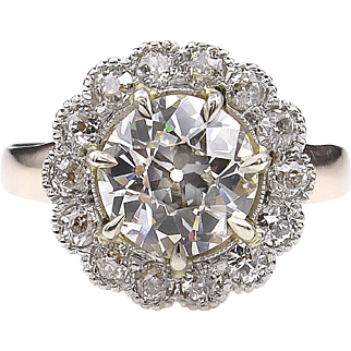 Victorian GIA 2.01ct Old European Diamond Cluster Engagement Yellow Gold Ring