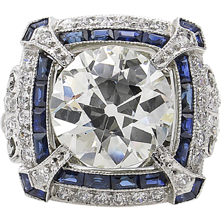 Vintage 5.34ct Old European Diamond Sapphire Engagement Platinum Ring