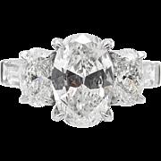 Vintage GIA 3.45ct Oval Cut Diamond Three Stone Engagement Platinum Ring