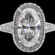 4.27ct Estate Vintage Oval Diamond Engagement Wedding Platinum Ring EGL USA