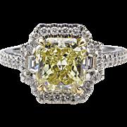 Vintage GIA 2.51ct Fancy Yellow Radiant Diamond Engagement Platinum Ring