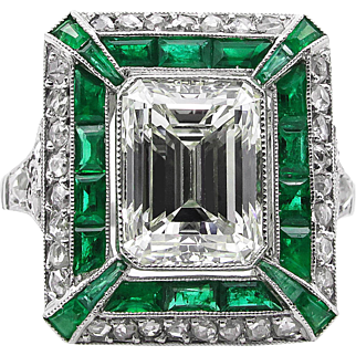 Vintage 5.63ct Emerald Diamond Engagement Platinum Ring EGL USA