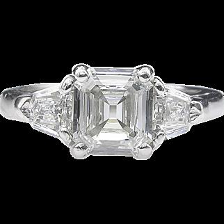 Vintage GIA 1.86ct Asscher Diamond 3 Stone Engagement Platinum Ring