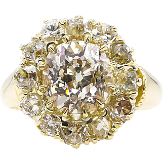 Victorian 3.12ct Old European Diamond Cluster Engagement 18k Yellow Gold Ring EGL USA